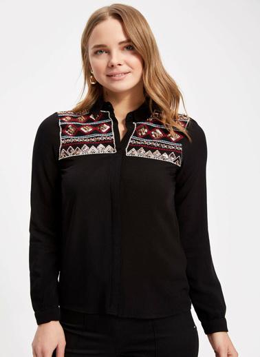 DeFacto Etnik Desenli Katlanabilir Kollu Gömlek Tunik Siyah